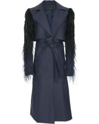 Sally Lapointe - Coated Wool Trench Coat - Lyst