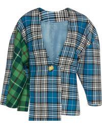 Tata Naka - Checked Asymmetric Square Shoulder Jacket - Lyst