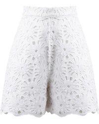 ANOUKI - White Flower Lace Shorts - Lyst
