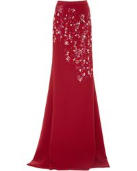 Bibhu Mohapatra - Embroidered Full Length Crepe Skirt - Lyst
