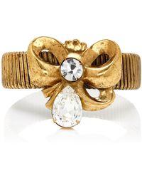 Rodarte   Antique Gold Bow Expandable Bracelet With Swarovski Detail   Lyst