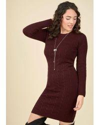 Mak - Luxe Lodge Sweater Dress In Merlot - Lyst