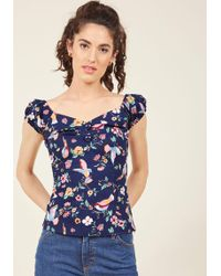 Collectif | Tickle Me Picnic Cotton Top In Secret Garden | Lyst