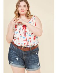 ModCloth - Canoes Flash Denim Shorts In Dark Wash - 14-24 - Lyst