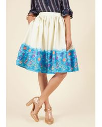 Collectif - Made By Imagination Midi Skirt In Seascape - Lyst