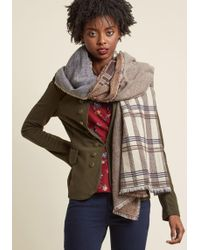 ModCloth | Playful Patterns Blanket Scarf In Cocoa | Lyst