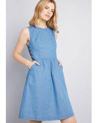 9b336d87153a Lyst - ModCloth Pleasant Temperament Cotton A-line Dress in White