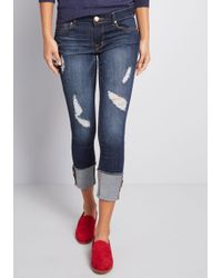 ModCloth - Kept Cuffed Distressed Skinny Jeans - Lyst