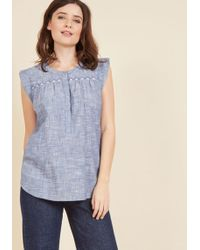 Mata Traders - Cotton The Act Chambray Top - Lyst