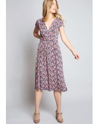 0ddd16864af8 Lyst - Maggy London Leaf Print Faux Wrap Dress (regular & Petite) in ...