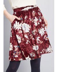 2e4e29282b2 ModCloth - Casual Creativity Pocketed Velvet Skirt - Lyst
