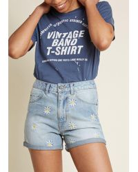 ModCloth - Fit To Flourish High-waisted Jean Shorts - Lyst