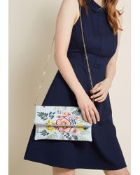 ModCloth - Creative Indication Embroidered Clutch - Lyst
