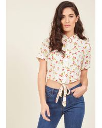 Collectif | Sunday Sing-along Button-up Top In Cherries | Lyst