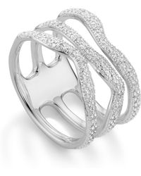 Monica Vinader - Riva Diamond Wave Triple Ring - Lyst