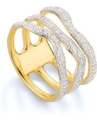Monica Vinader - Riva Diamond Wave Triple Ring - Lyst