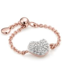 Monica Vinader - Nura Mini Heart Adjustable Friendship Diamond Ring - Lyst