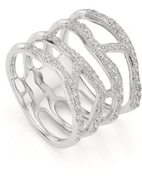 Monica Vinader - Waterfall Sterling Silver And Diamond Ring - Lyst