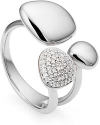 Monica Vinader - Nura Silver Pebble Cluster Diamond Ring - Lyst