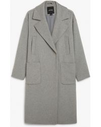 Monki - Double-breasted Wool Coat - Lyst