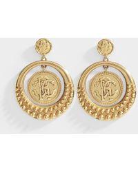 Roberto Cavalli - Eye Earrings In Golden Brass - Lyst