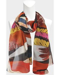 Christian Lacroix - Foulard geisha 70x180 en coton et soie orange - Lyst cfe526a4098