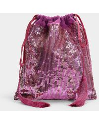 Attico - Full Sequins Pouch Bag In Pink Silk And Sequins - Lyst