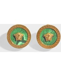 Versace - Earrings In Malachite And Gold Metal - Lyst