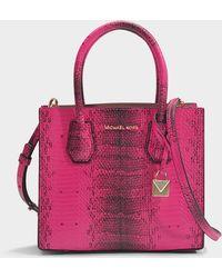MICHAEL Michael Kors - Mercer Medium Messenger Bag In Ultra Pink Python Embossed Calfskin - Lyst