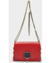 Jimmy Choo - Lockett Petite Bag In Red And Chrome Spazzolato Leather - Lyst