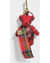 Burberry - Thomas Tartan Scarf Bag Charm In Red Parade Cashmere - Lyst