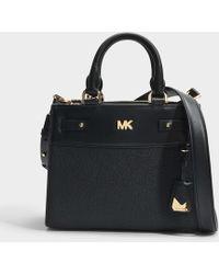 MICHAEL Michael Kors - Mott Uptown Mini Messenger Bag In Black Small Pebble Leather - Lyst