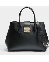 Furla - Metropolis Medium Tote Bag In Onyx Ares Leather - Lyst
