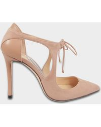 d99cbe017e5 Jimmy Choo - Vanessa 100 Suede Tie Up Pumps In Ballet Pink Suede And Nappa  Leathers