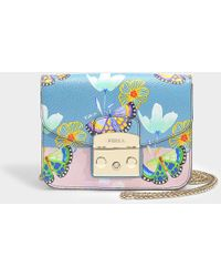 Furla - Metropolis Mini Bag In Textured Leather With All-over Butterfly Print - Lyst