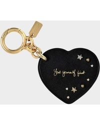COACH - Selena Heart Charm Bag Accessory In Black Calfskin - Lyst