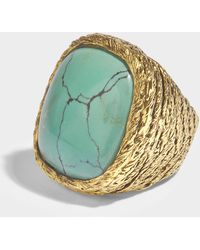 Aurelie Bidermann - Miki Turquoise Ring In Turquoise 18k Gold-plated Brass - Lyst