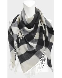 Burberry - 160x120x120 Half Mega Check Bandana Scarf In Natural White Cashmere - Lyst