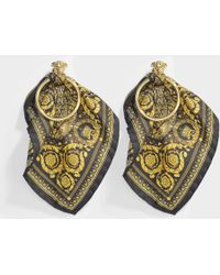 Versace - Barocco Scarf Earrings In Black And Gold Fabric And Metal - Lyst