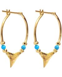 Aurelie Bidermann - Fine Jewellery - 18k Gold Shark Teeth Earrings With Turquoise & Yellow Gold Pearls - Lyst
