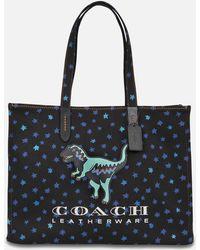 COACH - Rexy 42 Tote Bag In Black Canvas - Lyst