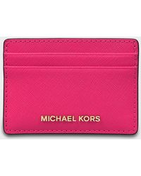 67c13000740a Michael Michael Kors Jet Set Card Holder in Red - Lyst