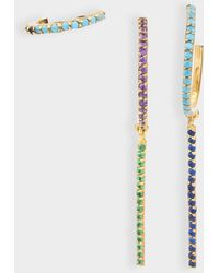 Joanna Laura Constantine - Set Of Three Multi Hoop Earrings In Gold-plated Brass With Blue Spinel And Turquoise Green Stones - Lyst