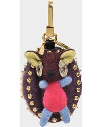 Burberry - Hedgehog Charm Bag Accessory In Camel Cashmere And Leather - Lyst