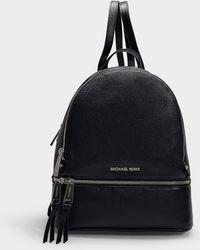 7388c3a0f52f MICHAEL Michael Kors - Rhea Zip Medium Backpack In Black Grained Calfskin -  Lyst