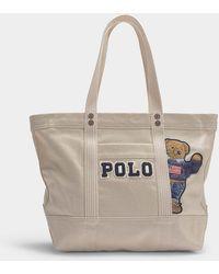 Polo Ralph Lauren - Small Pp Tote Teddy Bear In Cream Canvas - Lyst