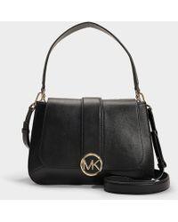 3f6069d0444a MICHAEL Michael Kors - Lillie Medium Top Handle Flap Bag In Black Calfskin  - Lyst