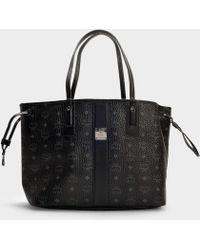 MCM - Reversible Project Visetos Shopper Bag In Black Pvc - Lyst