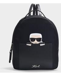Karl Lagerfeld - Sac à Dos K/Ikonik Small en Nylon Noir - Lyst