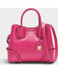 MICHAEL Michael Kors - Mercer Gallery Small Center Zip Satchel Bag In Ultra Pink Polisher Leather - Lyst